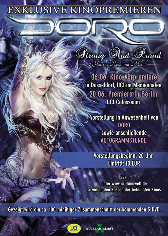 Doro Official Cinema Premieres For New DVD Announced